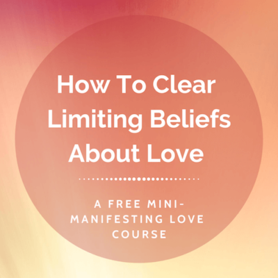 Banner for psychic Elizabeth Hunter Diamond offers a free course to clear limiting beliefs about love.