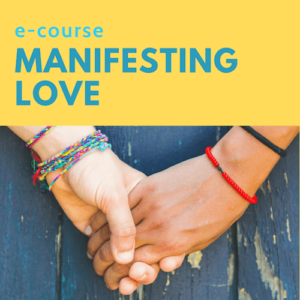 Two lovers holding hands and manifesting love on a blue background.